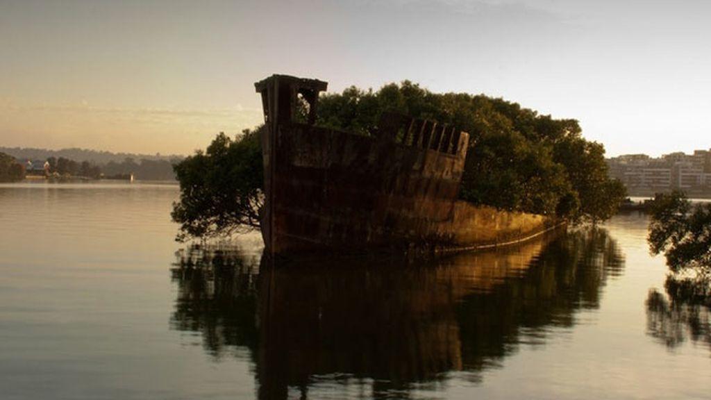 Los restos de la Ayrfield SS en la bahía de Homebush, en Australia