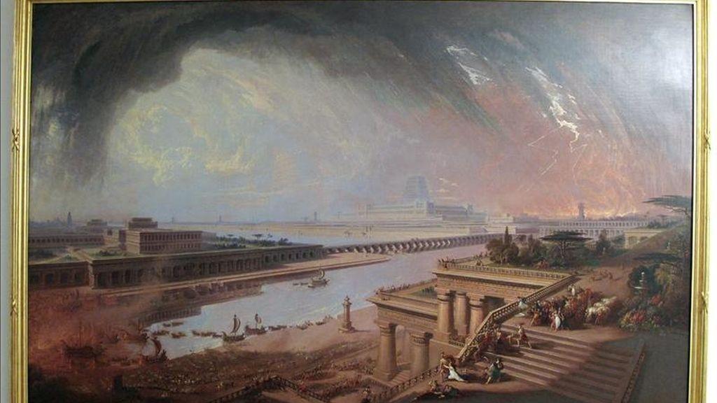 """Fotografía facilitada por la Tate Britain de """"La caída de Babilonia"""" (1819), uno de los cuadros que forman parte de la exposición que la galería dedica al artista inglés John Martin (1789-1854), pintor famoso en su tiempo tanto por sus dramáticas escenas de apocalíptica destrucción como por sus visiones del paraíso. EFE"""