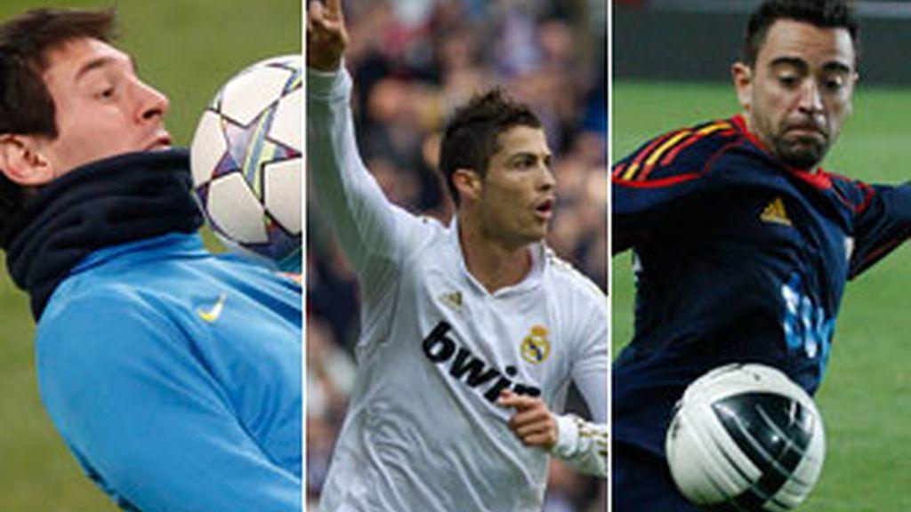 Los jugadores del FC Barcelona Leonel Messi y Xavi Hernández y el atacante del Real Madrid Cristiano Ronaldo son los finalistas al 'Balón de Oro'.