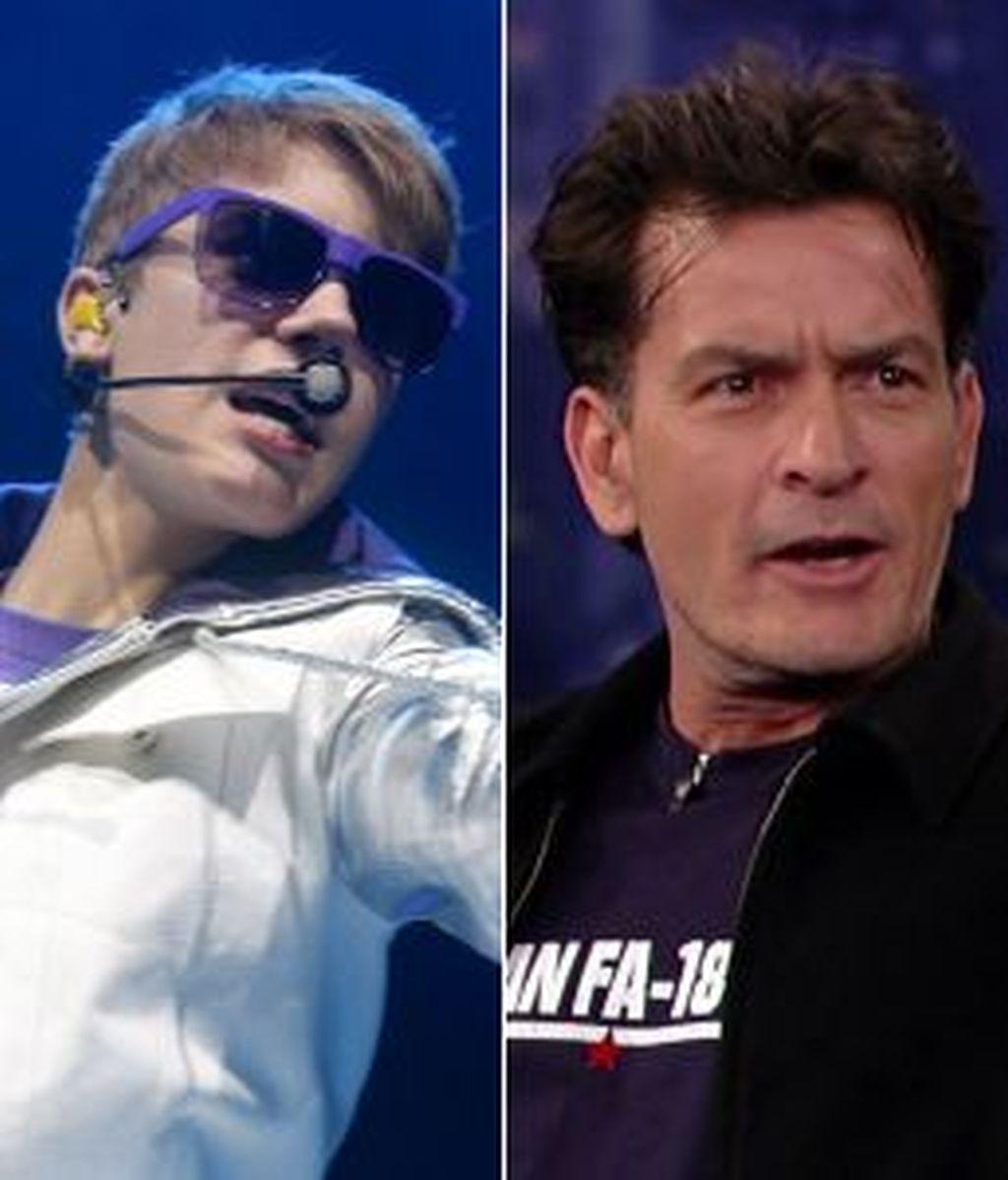 Justin Bieber y Charlie Sheen podrían desaparecer en Internet por una nueva aplicación. Fotos: Gtres.