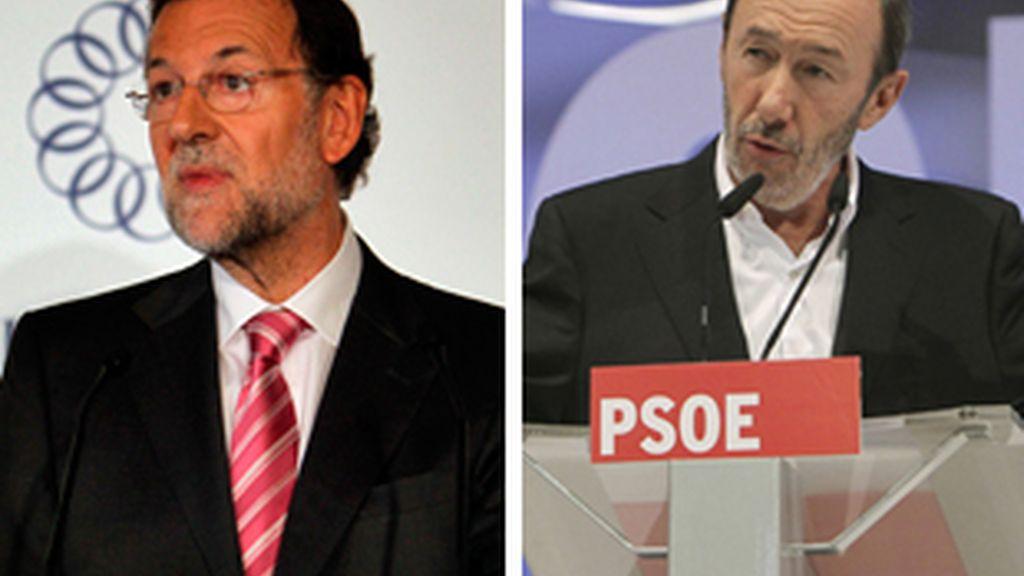 Rajoy y Rubalcaba coincidirán en Zaragoza en dos actos electorales. FOTO: EFE/Archivo