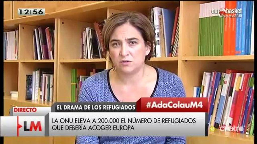 """Ada Colau, sobre los refugiados: """"A todos nos produce vergüenza que Europa no sea capaz de estar a la altura"""""""