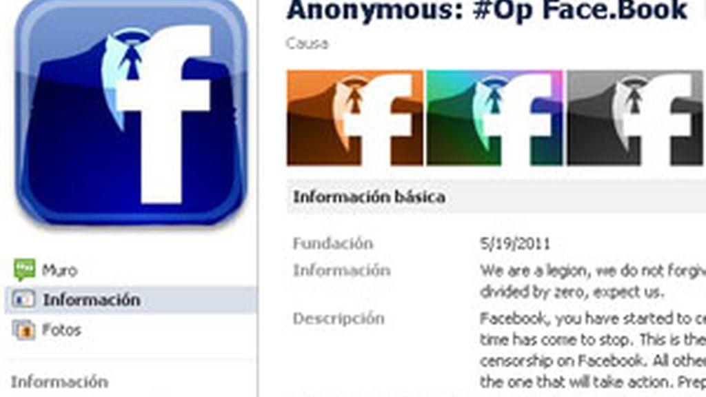 Anonymous ha anunciado un ataque para acabar con Facebook. Foto: Facebook