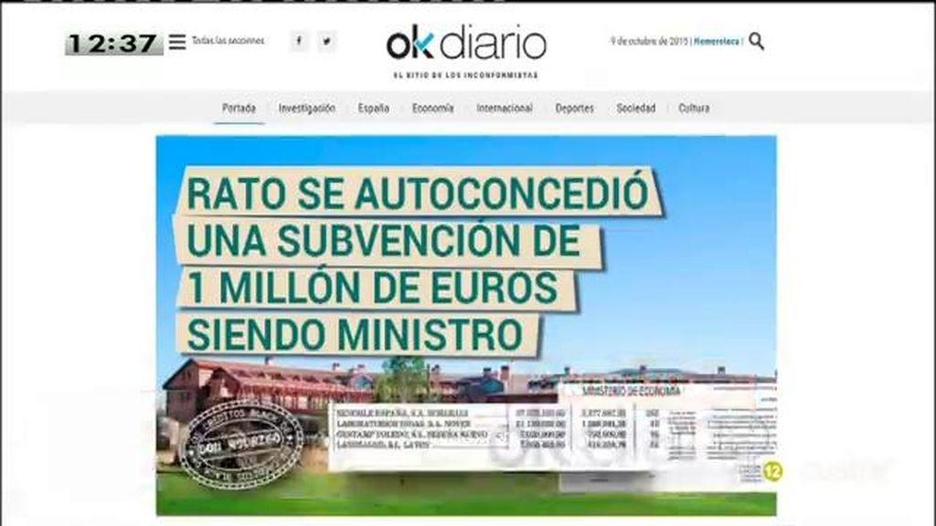 Rato se 'autoconcedió' una subvención siendo ministros, según 'Okdiario'
