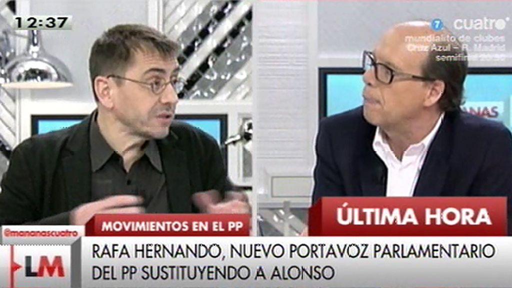 """Juan Carlos Monedero, de Rafael Hernando: """"Es insultante que quien ha insultado a tanta gente se convierta en portavoz"""""""