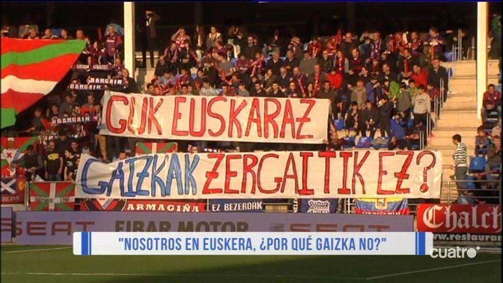 """Los hinchas del Eibar defienden su lengua: """"Con el euskera de Primera, 1.000 gracias"""""""