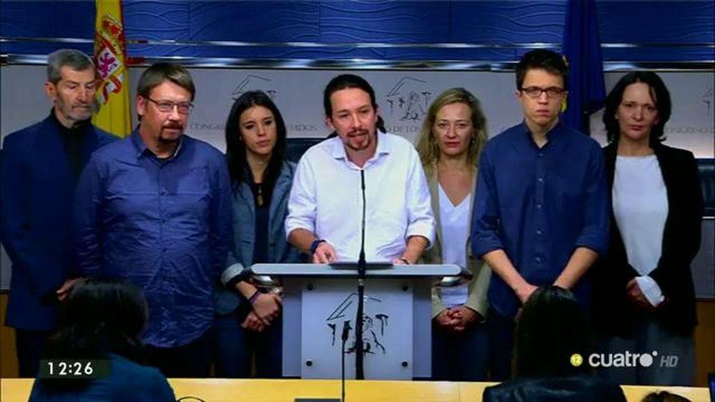 """Pablo Iglesias: """"Le he transmitido al jefe del Estado nuestra voluntad de formar un gobierno de cambio con el PSOE y con IU"""""""