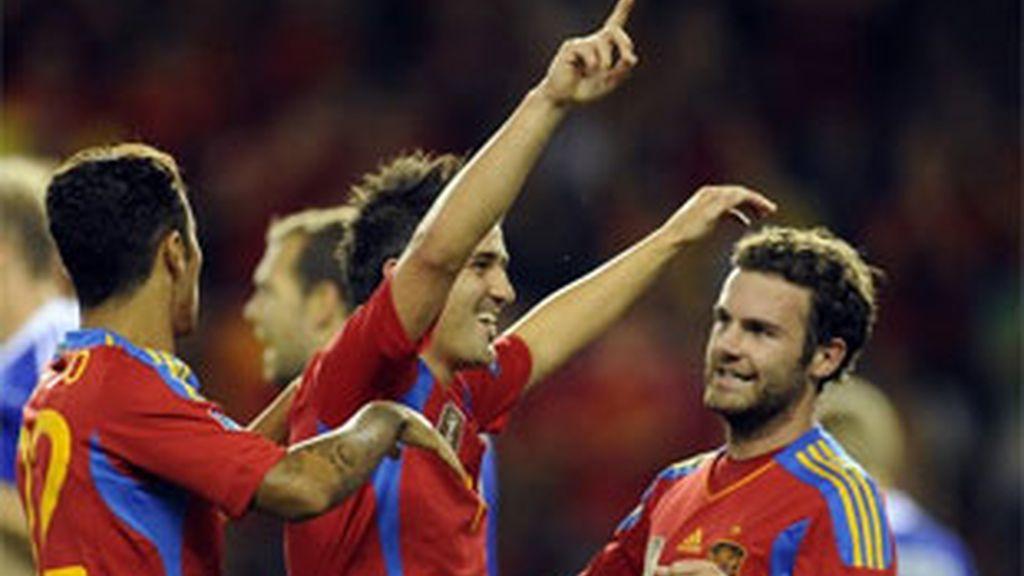 Villa ha logrado su doblete en Las Gaunas. Foto: Informativos Telecinco