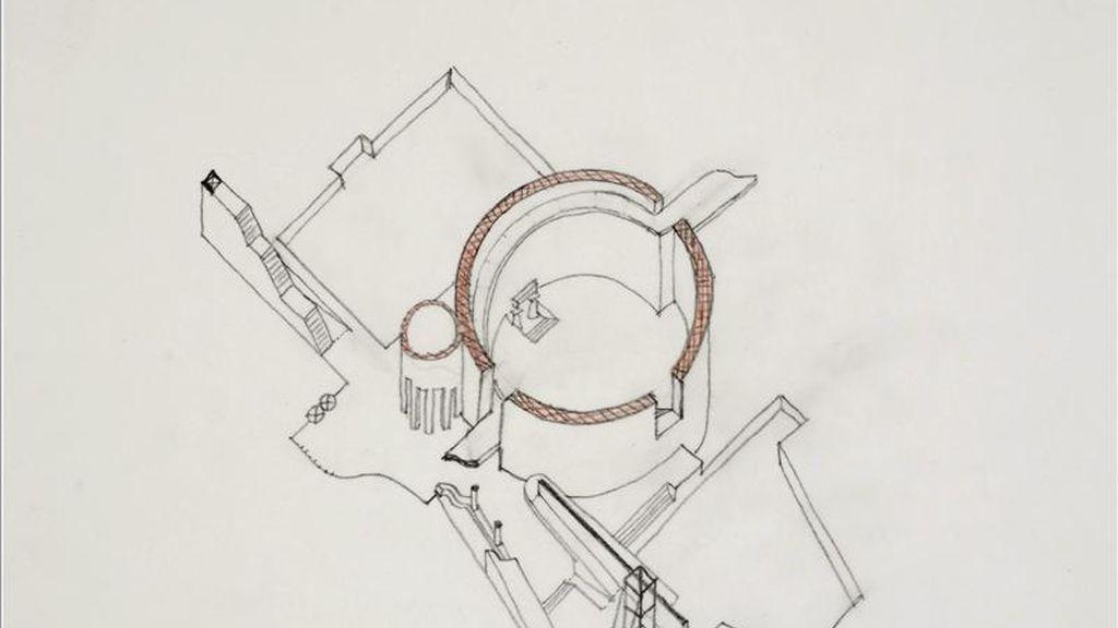 Imagen facilitada por el Centre Canadien d'Architecture de un plano en grafito y lápiz de color sobre papel del arquitecto británico James Stirling (1924-1992), creador de edificios tan singulares como la Neue Staatsgallerie, de Stuttgart, o la Facultad de Historia de la Universidad de Cambridge, a quien la galería Tate Britain dedica una exposición. EFE