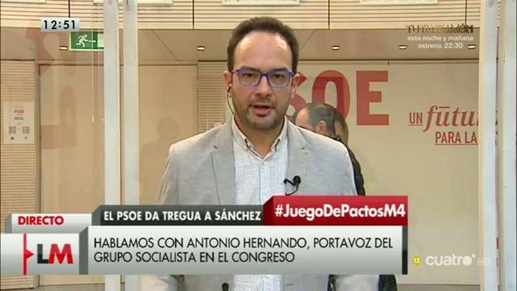 """A. Hernando, sobre el PSOE: """"No hay ni guerra civil ni se busca la cabeza de nadie"""""""