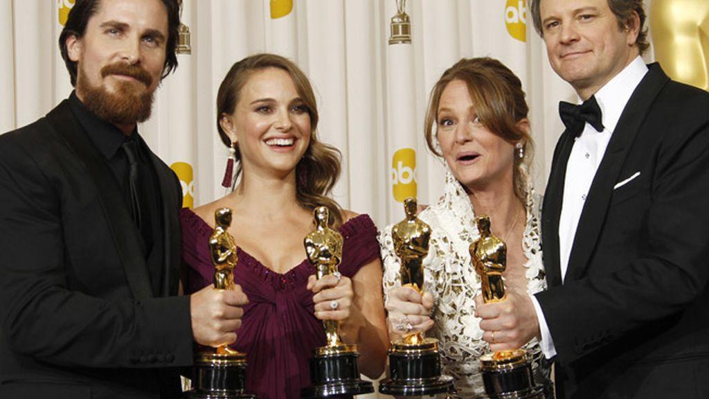 Christian Bale, Natalie Portman, Melissa Leo, y Colin Firth en 2010