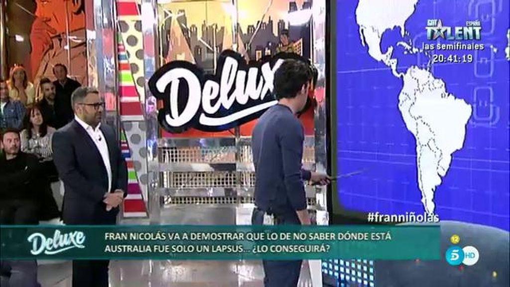 Fran Nicolás se enfada con el público durante la prueba de geografía en el 'Deluxe'