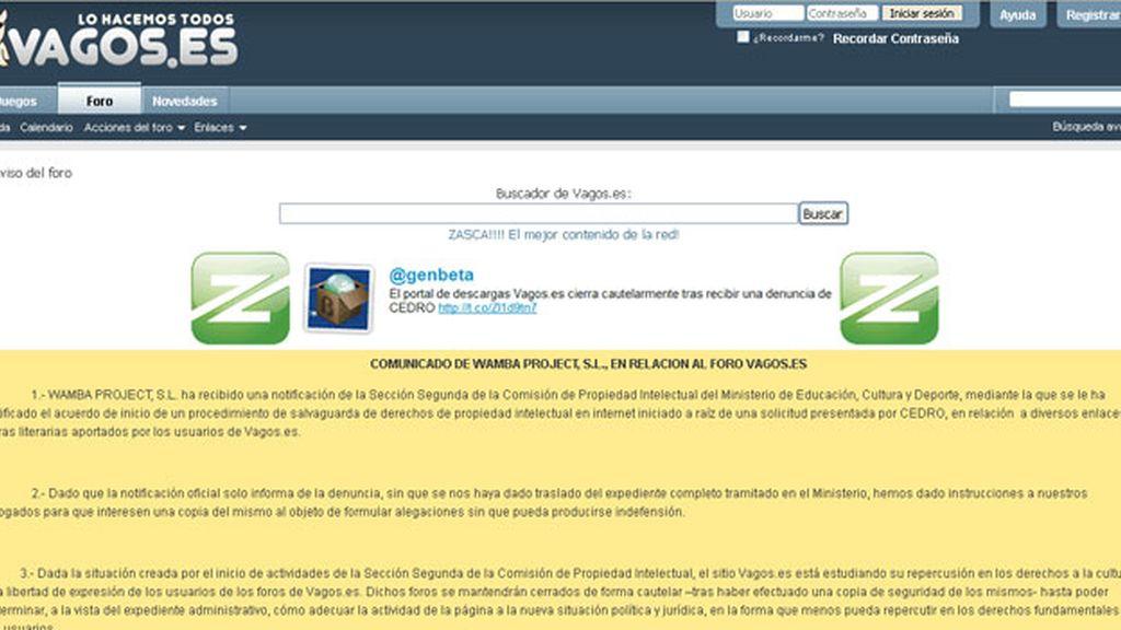 """La web española Vagos.es ha decidido cerrar de forma cautelar por la """"Ley Sinde"""""""