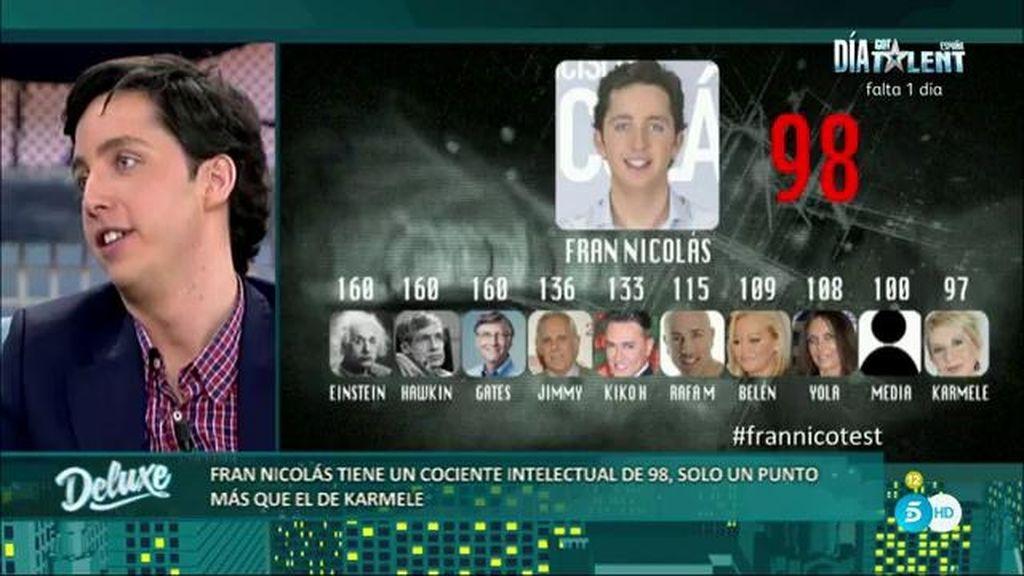 Francisco Nicolás está por debajo de la media según un test de inteligencia