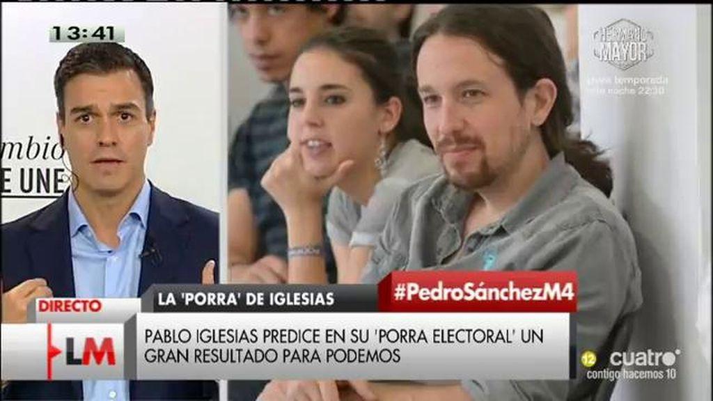"""P. Sánchez, sobre un pacto con Podemos: """"Lo que más ama Pablo Iglesias es a su persona"""""""