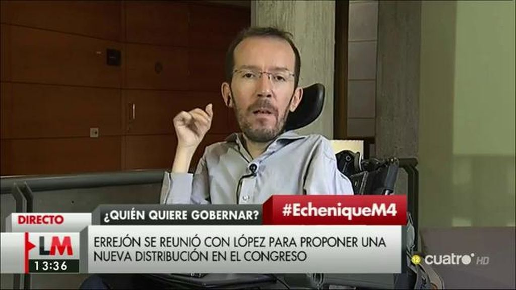 """Pablo Echenique, sobre Mariano Rajoy: """"Alguna responsabilidad tendrá de lo que ocurre en su partido"""""""