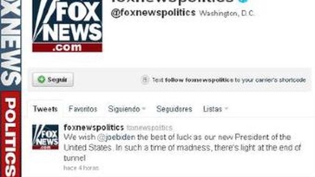 La cuenta de Twitter del canal Fox News ha sido utilizada para distribuir la noticia falsa de la muerte de Obama en tuits publicados en la cuenta oficial de la cadena.