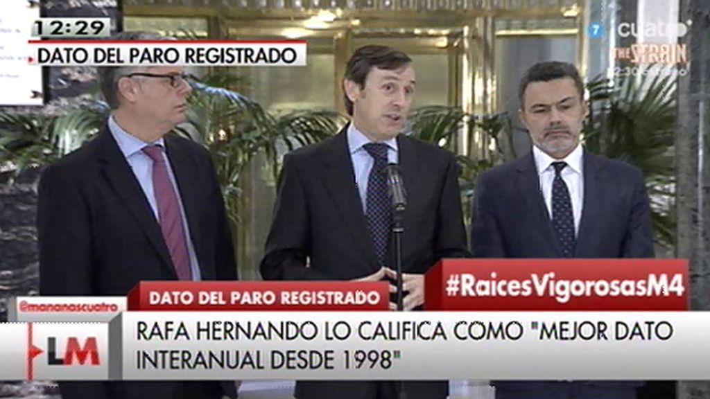 """R. Hernando: """"Es el mejor dato en términos de reducción de paro interanual desde 1998"""""""