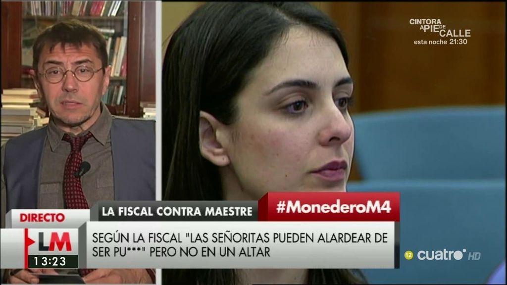 """J.C. Monedero, sobre Rita Maestre: """"La Fiscalía ha metido la pata y ese machismo de fondo tenemos que frenarlo"""""""
