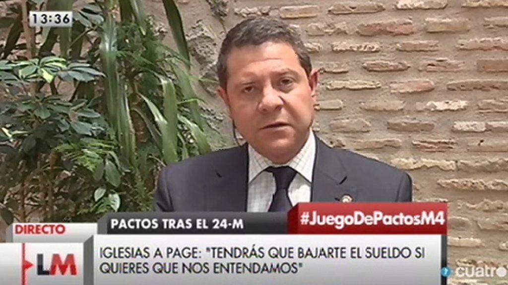 """García - Page, a Pablo Iglesias: """"Lo que yo pueda cobrar no va a ser nunca un obstáculo"""""""