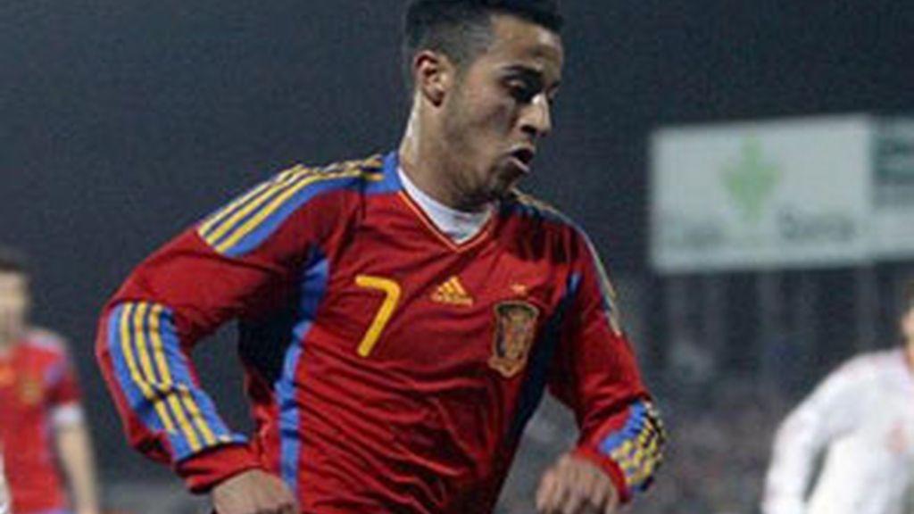 Thiago en un partido con la selección. Foto: EFE