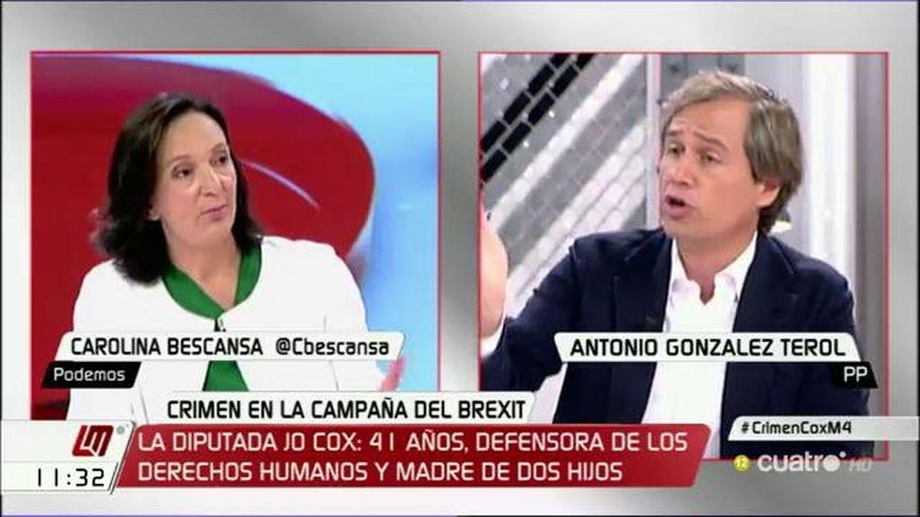 """A. González Terol, a Bescansa: """"Sois vosotros los que habéis puesto en duda la inclusión o no en la eurozona"""""""
