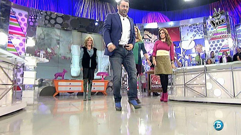 Jorge Javier Vázquez comprueba lo que es andar con tacones