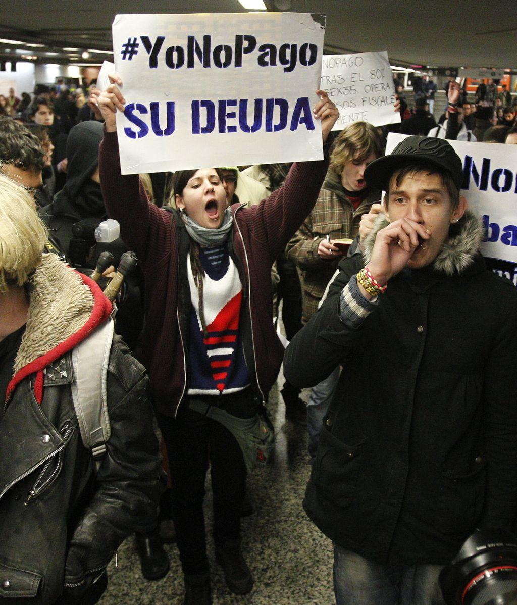 Cinco detenidos en las protestas por el movimiento 'Yo no pago' en Madrid