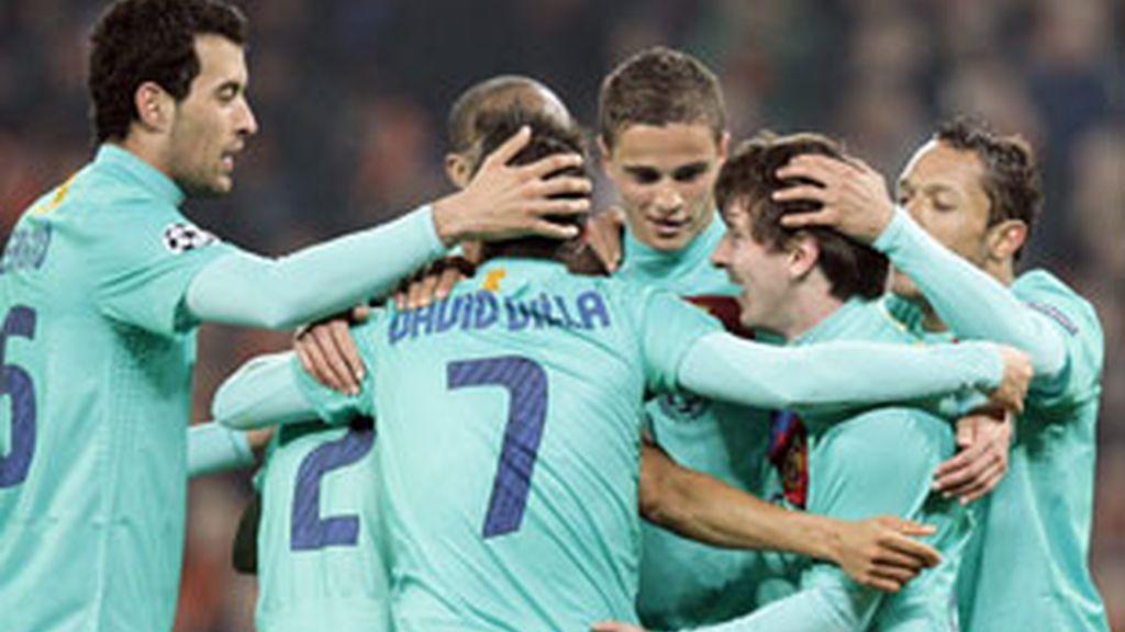 El Barça celebra el tanto de Messi ante el Shakhtar Donetsk. Vídeo: Informativos Telecinco