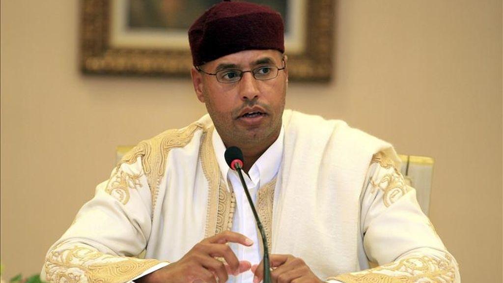 En la imagen, el hijo de Muamar Gadafi, Seif el-Islam. EFE/Archivo