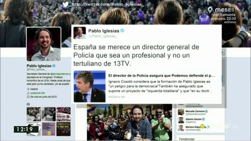 """Iglesias contesta a Cosidó: """"España se merece a un director general de la policía que sea un profesional y no un tertuliano"""""""