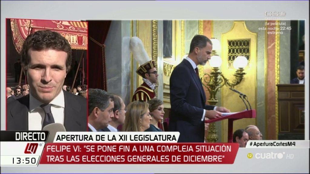 """Pablo Casado: """"Para Podemos el debate es la política o la antipolítica"""""""
