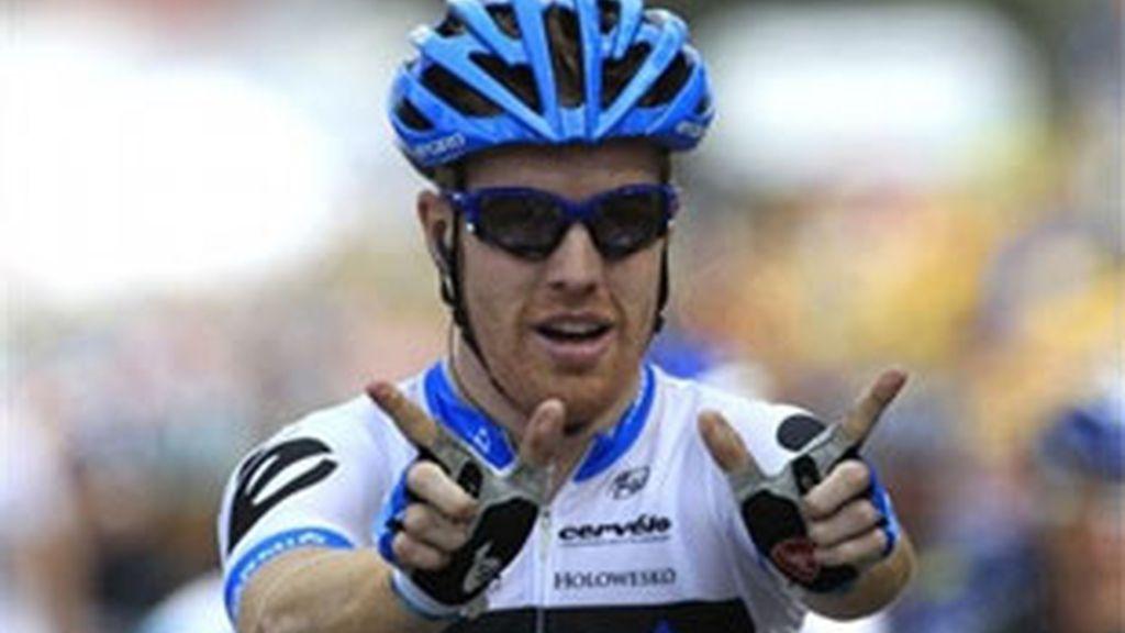 El americano dedicó la victoria a Wouter Weylandt, fallecido en el Giro. Foto: AP.