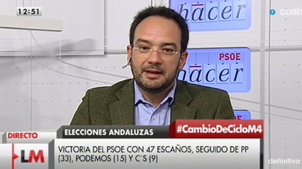 """Hernando: """"Es una victoria del PSOE, de Susana Díaz, de Pedro Sánchez y de todos"""""""