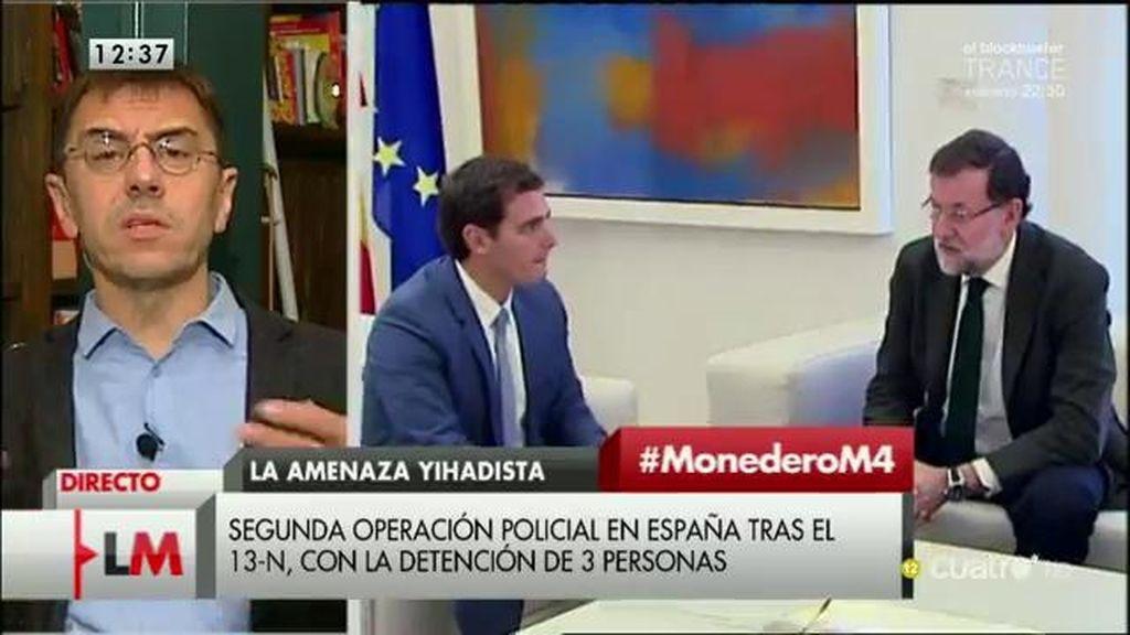 """Monedero: """"Ciudadanos quiere hacerse un hueco poniéndose a favor de las guerras"""""""