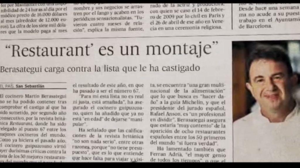 """Berasategui: """"Ferrán Adriá es estratosférico y Joan Roca es de otro planeta"""""""