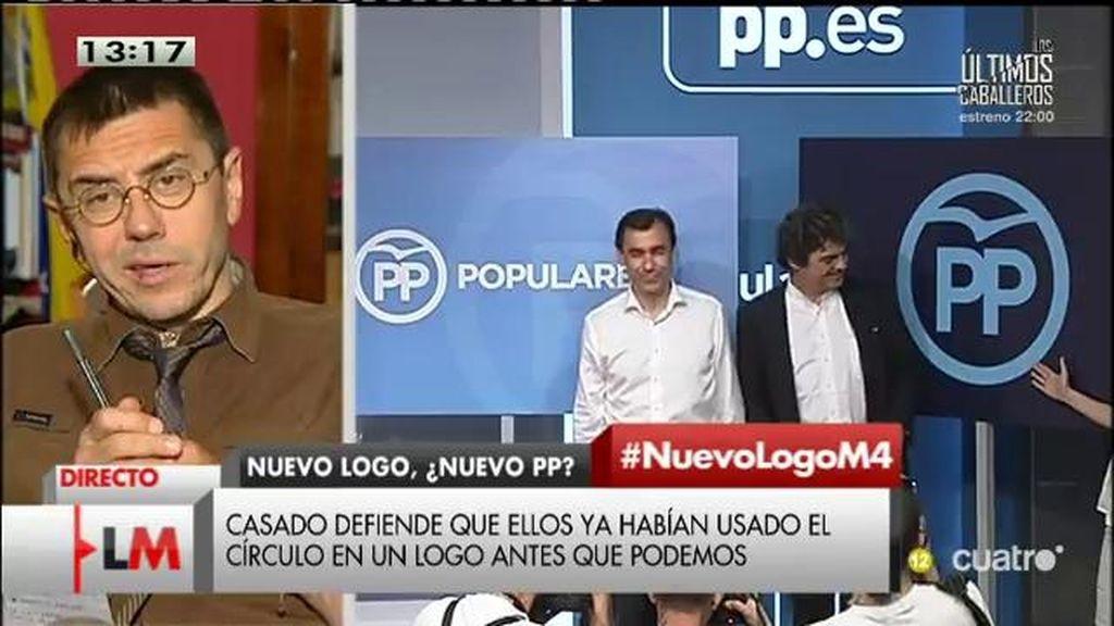 """Monedero, sobre el logo del PP: """"Intentan imitar a Podemos en todo lo que pueden"""""""