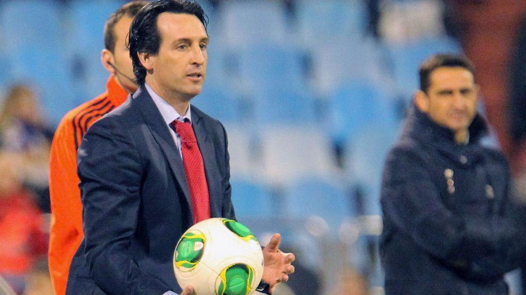 El entrenador del Sevilla Unai Emery durante el encuentro de cuartos de final de la Copa del Rey disputado frente al Zaragoza