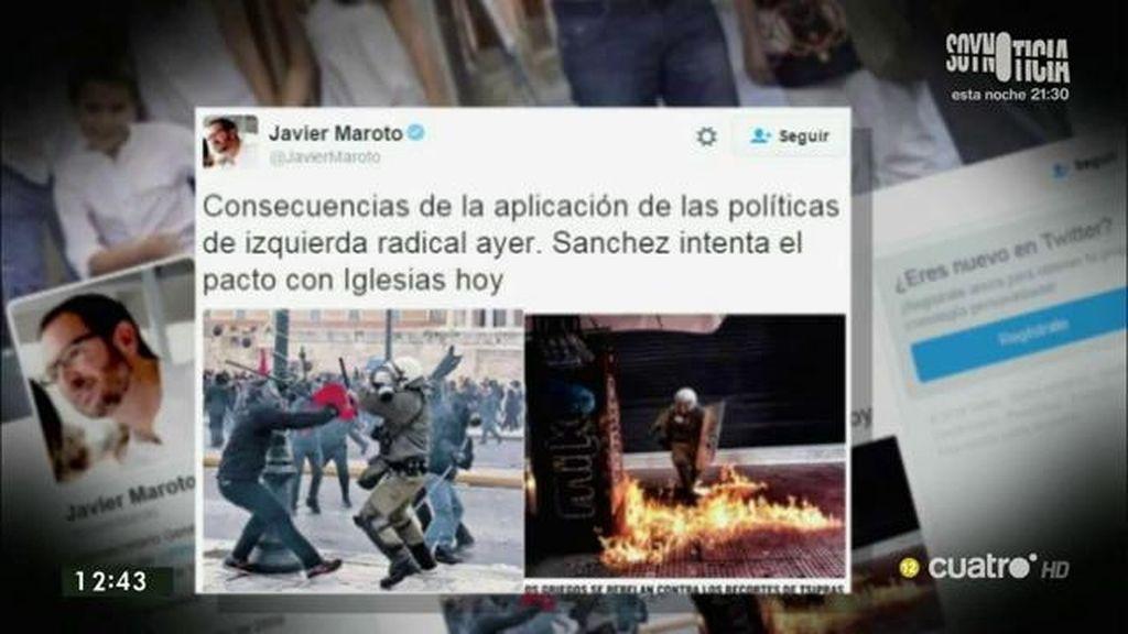 """Javier Maroto, en Twitter: """"Consecuencias de la aplicación de las políticas de izquierda radical"""""""