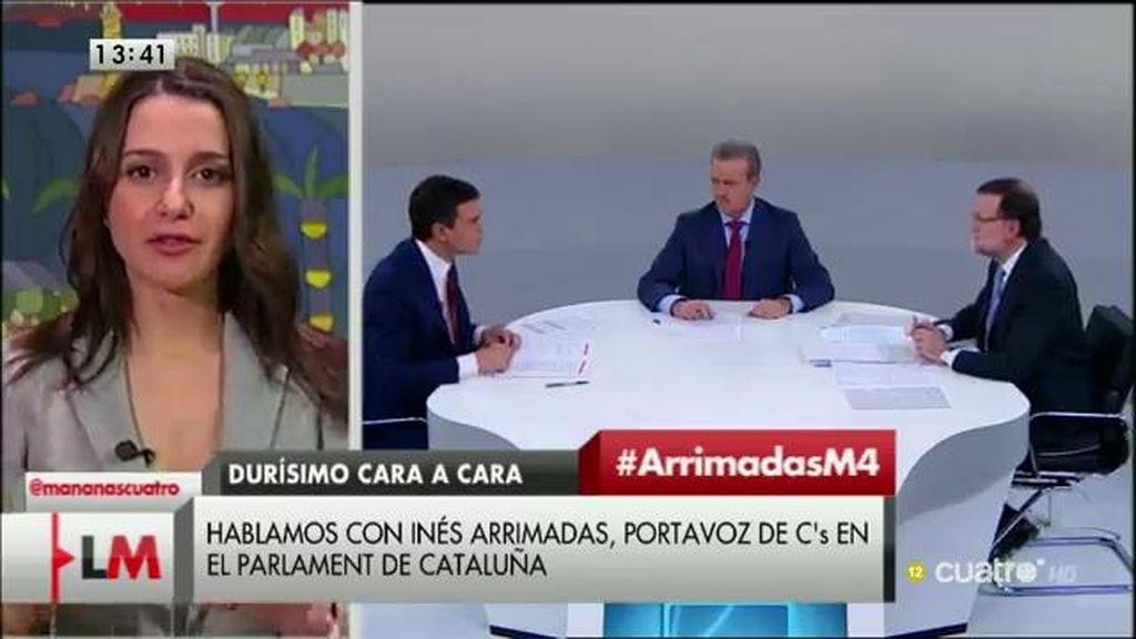 """Arrimadas, del debate de Rajoy y Sánchez: """"Se sobrepasaron límites muy feos"""""""