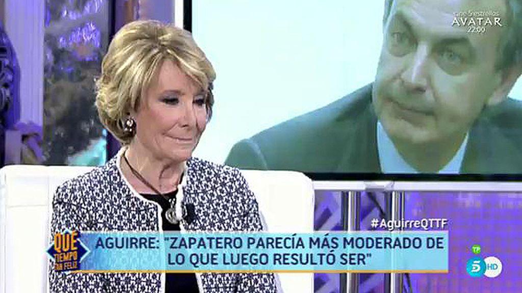 """Aguirre, de Zapatero: """"Con él me equivoqué, pensé que amaba a España"""""""