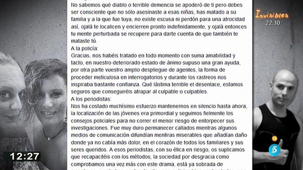 """La familia de Sergio Morate: """"Ojalá te localicen y encierren pronto indefinidamente"""""""
