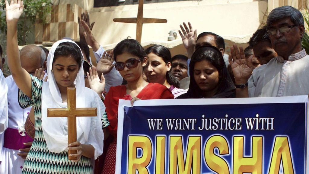 Manifestación a favor de la libertad de Rimsha Masih