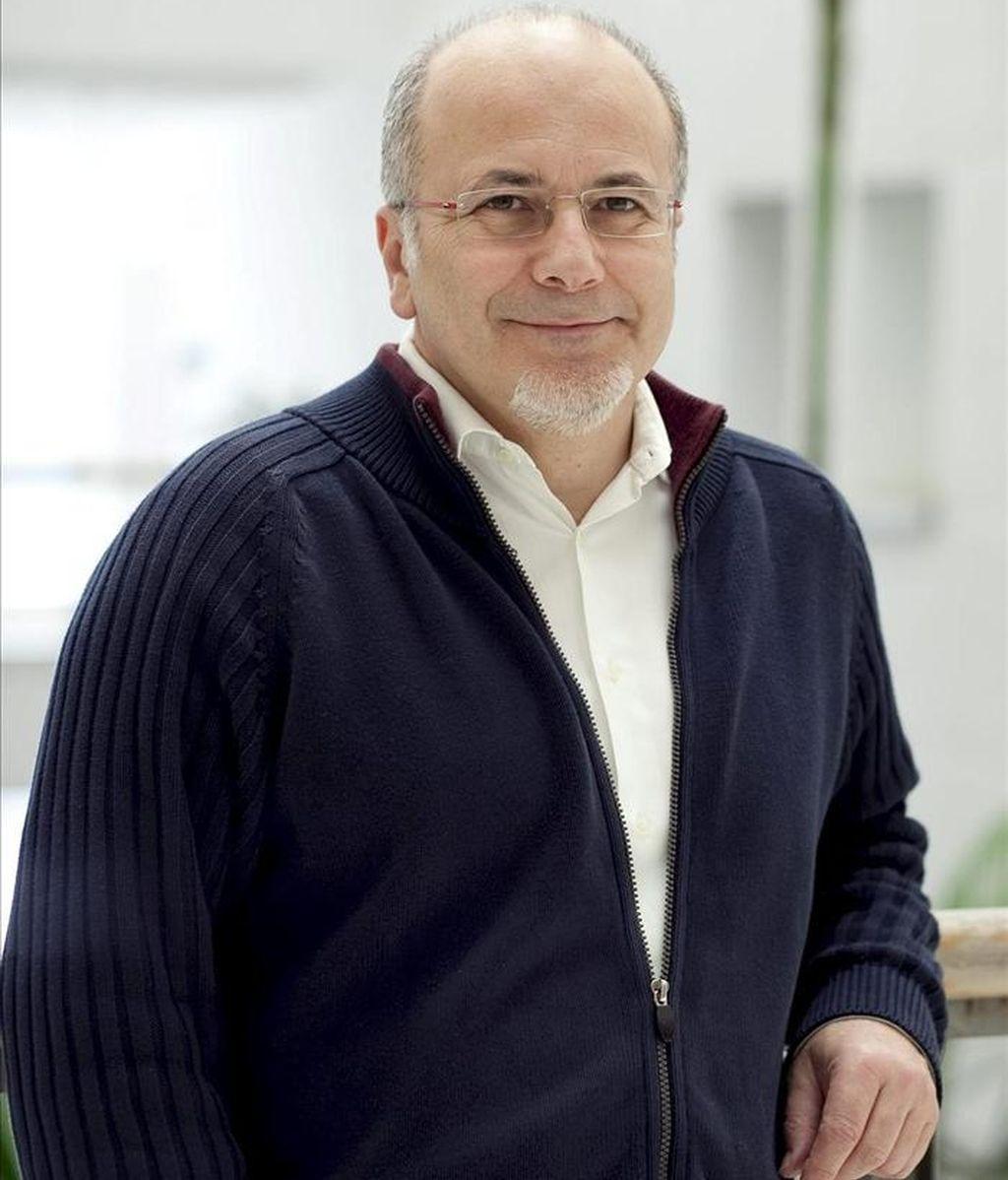 El egiptólogo Miguel Ángel Molinero, durante la entrevista que mantuvo con Efe para avanzar los resultados de la investigación sobre los casi 200 grafitis del templo de Debod catalogados y estudiados por primera vez. EFE