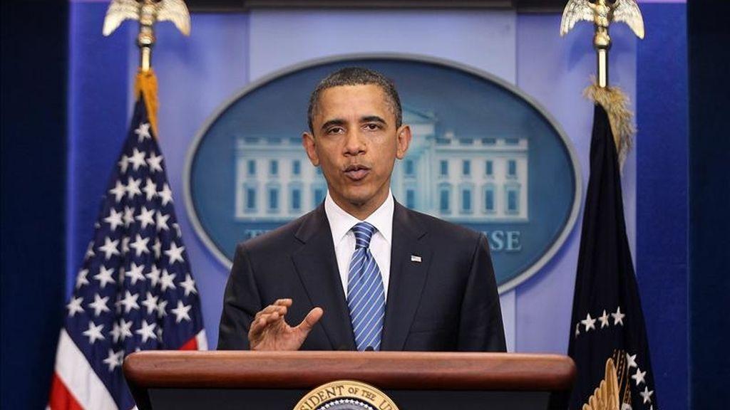 El presidente de EE.UU., Barack Obama, durante una conferencia de prensa sobre el presupuesto federal en la Casa Blanca en Washington (EE.UU.). EFE