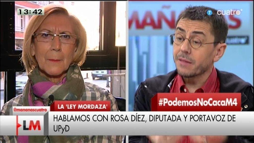 Rosa Díez y Juan Carlos Monedero, cara a cara en 'Las Mañanas de Cuatro'