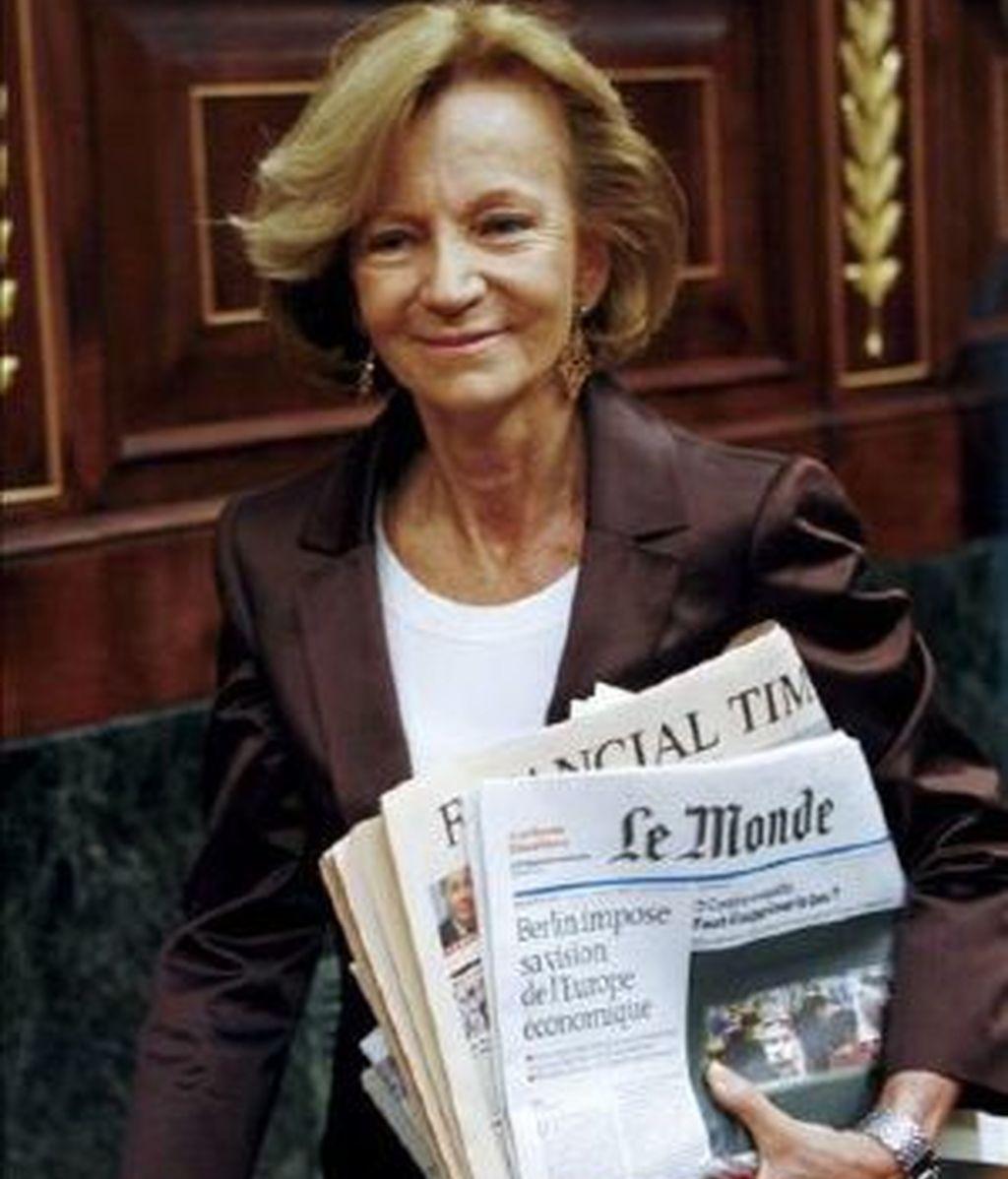 La ministra Elena Salgado, atenta. Foto: EFE.