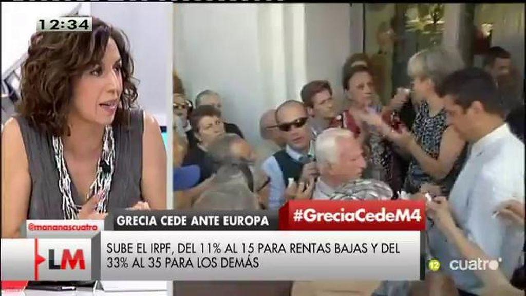 """Irene Lozano, sobre la propuesta de Grecia: """"Todos tenemos que respirar de alivio porque han estado todos jugando con fuego"""""""
