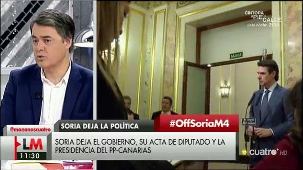 """Carlos Rojas: """"El señor Soria ha dimitido por una decisión personal que creo que le honra"""""""