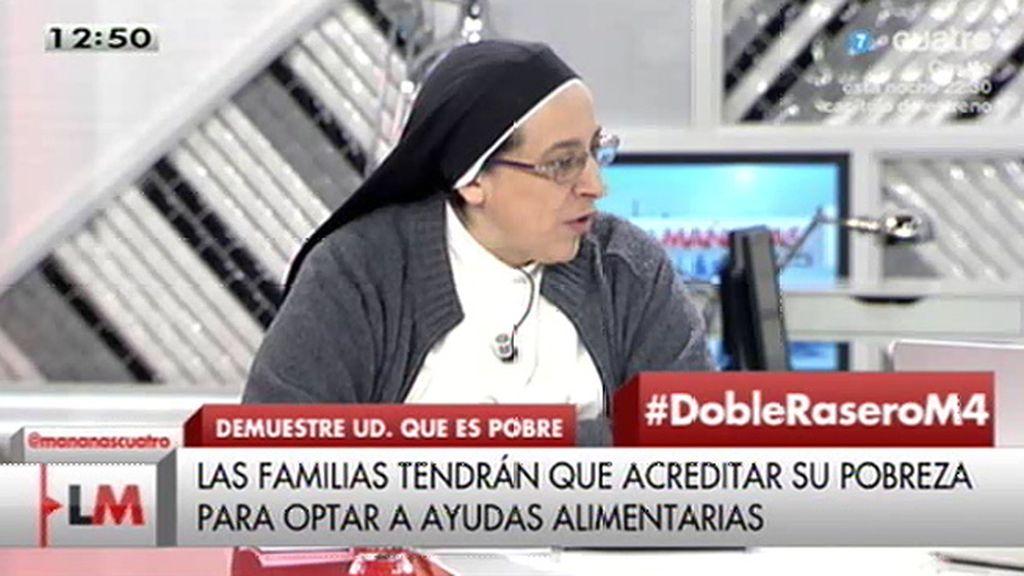 """Sor Lucía: """"Ahora se criminaliza a los pobres diciendo que hay quienes se aprovechan"""""""
